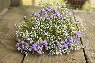 6 x ARTIFICIAL PALE PURPLE / LAVENDER GYPSOPHILA SPRAYS  WIRED STEMS 28cm