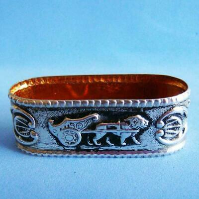 L@@k Great Vintage Sterling SILVER Wild Animal Lion Pulling a Cart Napkin Ring!