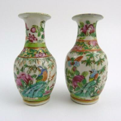 Pair Chinese Canton Famille Rose Porcelain Miniature Vases, 19Th Century