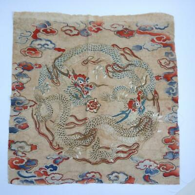 19th CENTURY CHINESE EMBROIDERED PANEL - TWIN DRAGONS CHASING FLAMING PEARL