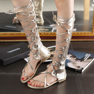 Womens Toe Ring Flats Shoes Sandals Knee High Boots Cross Strappy Gladiator Sexy