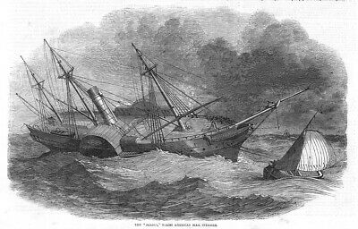 SHIPS The Acacia North American Mail Steamer - Antique Print 1849