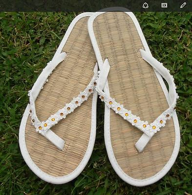 241d2c4dd LADIES STRAW IVORY Wedding Flip Flops decorated with lace and roses ...