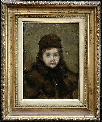 19th CENTURY FRENCH IMPRESSIONIST OIL - PORTRAIT GIRL - INDISTINCTLY SIGNED
