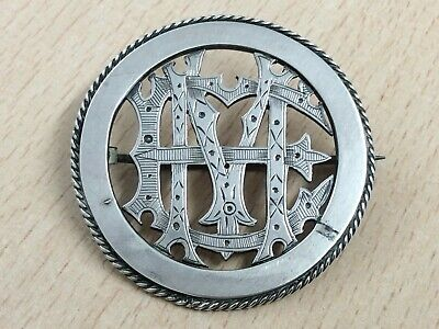 Antique Sterling Silver Monogram Em Or Me Brooch Pin 1880