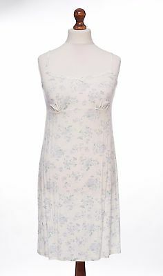 Per Una Ex M&S Luxe Ivory Floral Soft Stretchy Chemise Nightie Size 12 NEW