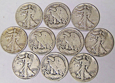 Lot of 10 Walking Liberty Silver Half Dollars 90% Silver 1940s Dated Coins