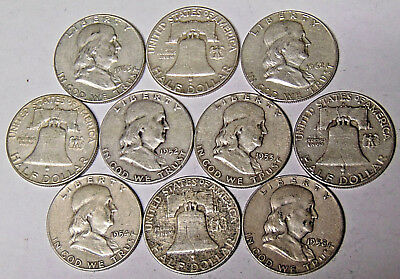 Lot of 10 Franklin Silver Half Dollars $5 Face Value 90% Silver Coins