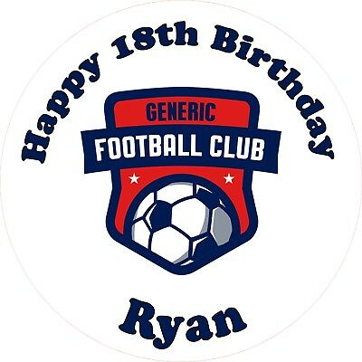 """Any Football Club 7.5"""" ROUND Cake Topper Rice Paper/Icing 24HR POST! YOUR TEAM!"""