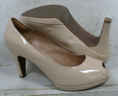 4087154a6a48 CLARKS INDIGO WOMENS Wessex Eider Nude Patent Leather Heels Shoes 64467 sz 11  M -  21.99