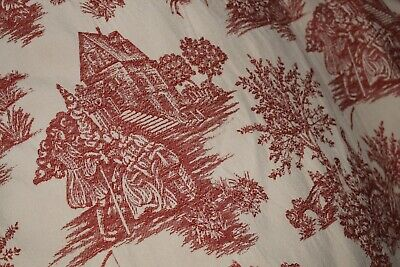 Toile De Jouy Woven Tapestry Fabric Curtain Panel Large Lined Pencil Pleated Vgc