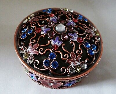Metal Copper Colored, Flower, Bejeweled Round Trinket Box-Magnetic Lid