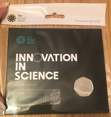 STEPHEN HAWKING 2019 50p Pence Coin BUNC-NOW SOLD OUT- Sealed- Unopened