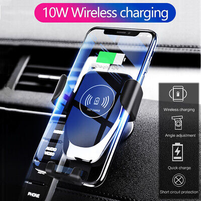 10W Qi Wireless Charger Car Air Vent Mount Holder For iPhone 8 Max Samsung S8 S9