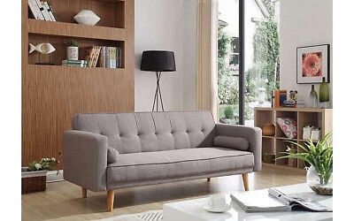 Scandinavian Sofa Bed Vintage Retro Sofa Bed Grey Fabric Couch Settee 3 Seater