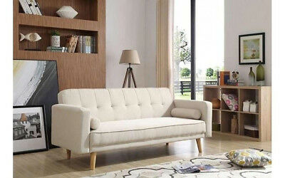 Scandinavian Sofa Bed Vintage Retro Sofa Bed Beige Fabric Couch Settee 3 Seater