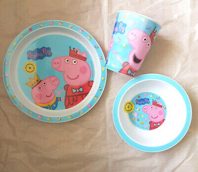Kids Peppa Pig 3 Piece  Plate & Bowl & Tumbler Mealtime Set 6 Mths +New