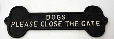 Please Close the Gate Dog Sign Metal Cast Iron Warning Sign Security Plaque