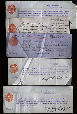 1883-1914 Five ALNWICK & NEWCASTLE Banking-Promissory Notes - REVENUES