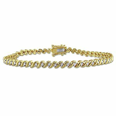 Miadora 1/2ct TDW Diamond 'S' Style Tennis Bracelet in Yellow Plated Sterling