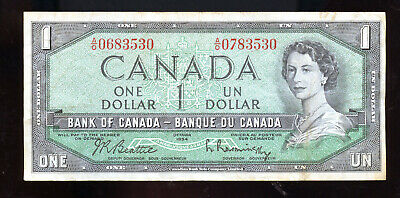 Rare 1954 Bank of Canada $1 Error Mismatched Serial Numbers BM322