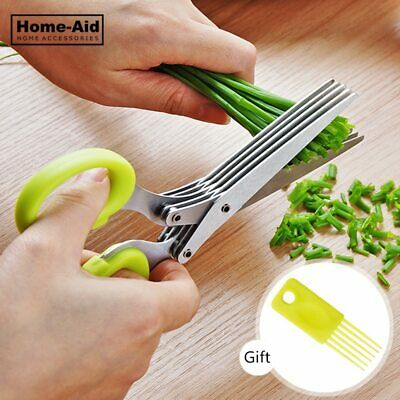 Multi-functional Kitchen Knives 5 Layers Scissors Sushi Stainless Steel