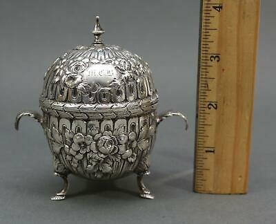 Antique Circa 1860s S. Kirk & Sons Sterling Silver Mustard Pot, Floral Repousse