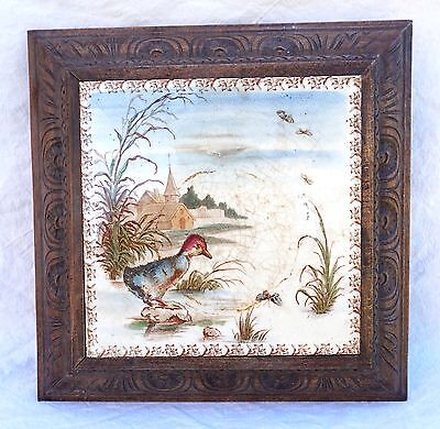 French Framed Tile Faience Trivet Duckling Luneville Early 20th C