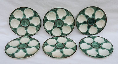 Vintage LONGCHAMP Set of 6 Oyster Plates Basketwave Green French Faience