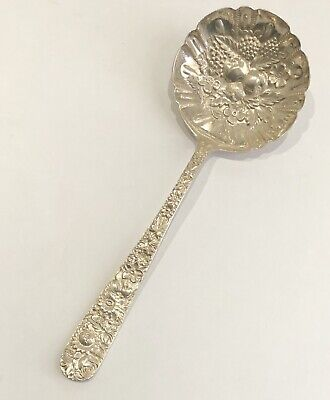 S Kirk & Son Repousse Pattern Sterling Silver Berry Dessert Serving Spoon 7.5""
