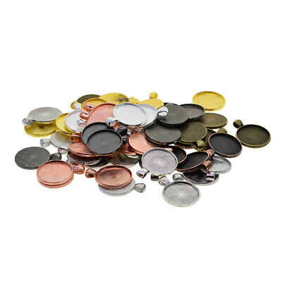 50pcs Multicolor Blank Round Bezel Tray Base For Cabochon Necklace Pendant