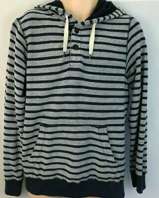 497ff318a25642 American Eagle Men s Vintage Hoodie Pullover Blue White Stripe Henley Medium
