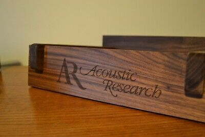 AR Acoustic Research AR-2AX Speaker Stands Black Walnut Engraved Vintage Retro