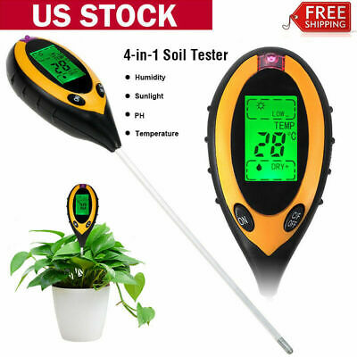Professional 4 in 1 LCD PH Temperature Sunlight Moisture PH Garden Soil Tester