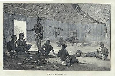 1873 Interior of an Ashantee hut. / Ashanti / Africa / Afrika antique print