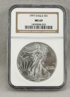 1997 One Ounce Silver American Eagle NGC MS69! No Reserve!