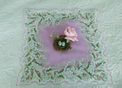 VINTAGE ROMANCE * Pink ROSEBUDS & LILY of the VALLEY * Large SCALLOPED HANKY