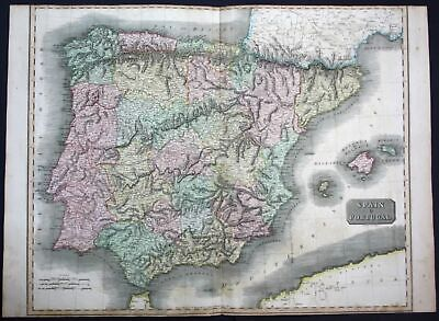 1817 Spain Portugal Espana Spanien map Karte Thomson Kupferstich