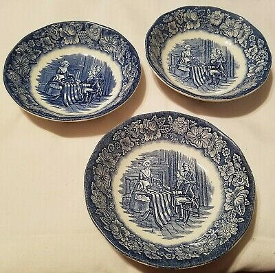 STAFFORDSHIRE Liberty Blue Historic Colonial Scenes 3 Fruit Dessert Bowls 5""