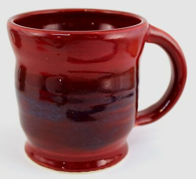 Hand Made Stoneware Pottery Mug Cup Burgundy Blue Wheel Thrown OOAK