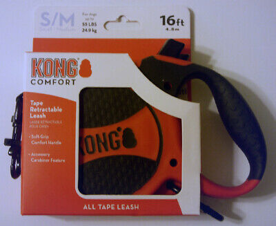 Kong Comfort Tape Retractable Leash 16Ft For Dogs Up To 55Lbs Size S/M