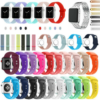 Silicone Watch Band Wrist Strap Nylon Woven For Apple iWatch 3 2 1 38/42mm
