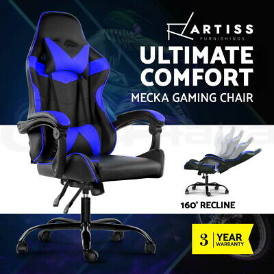 Gaming Office Chair Computer Seating Racing Recliner Racer PU Leather Black Blue