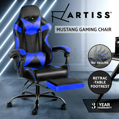 Artiss Gaming Office Chairs Computer Seating Racing Recliner Racer Footrest Blue