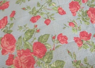 """AnTiQuE 37"""" wide 1940's LUSH PINK ROSES on FRENCH BLUE Vintage SEERSUCKER FABRIC"""