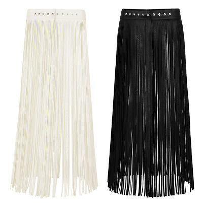 AU Women's Fringe Tassels PU Leather Belt Waist Long Short Mini Belt Skirt Dress