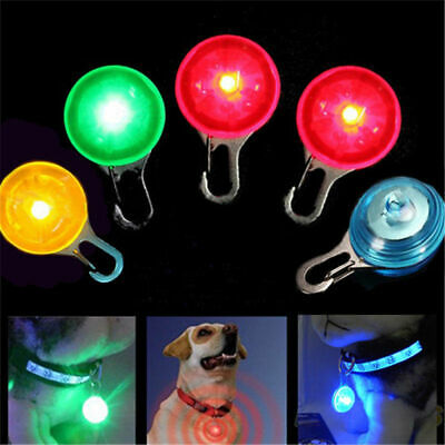 Pet Dog Cat Puppy LED Light Up Flashing Collar Safety Night Light Keyring Charm