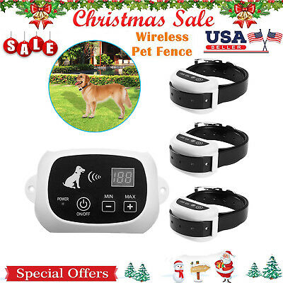 Wireless Electric Dog Pet Fence Containment System Transmitter Collar Waterproof