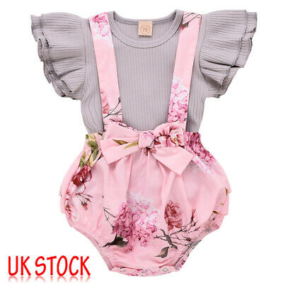 Newborn Baby Girls 2PCS Floral Ruffle Outfits Clothes Set Tops Shirt Tutu Pants