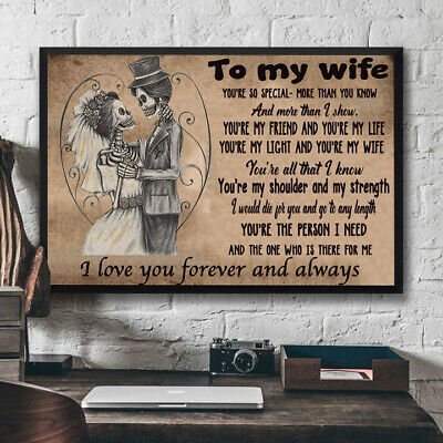 Skull Husband To My Wife I Love You Forever & Always Horizontal Poster No Frame